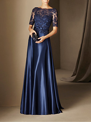 cheap Evening Dresses-A-Line Elegant Blue Wedding Guest Formal Evening Dress Boat Neck Half Sleeve Floor Length Lace Stretch Satin with Bow(s) Appliques 2020