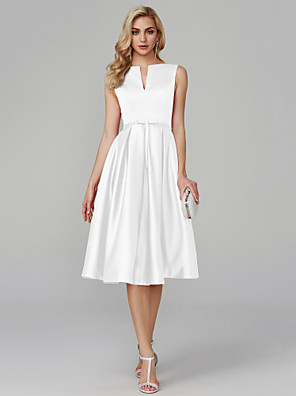 cheap Cocktail Dresses-Back To School A-Line Elegant Minimalist Cocktail Party Prom Dress V Wire Sleeveless Knee Length Satin with Sash / Ribbon 2020 Hoco Dress