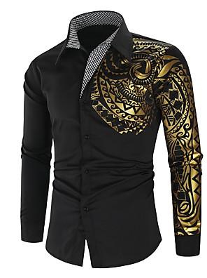 cheap Men's Tees-Men's Shirt Pigment Print Graphic Print Long Sleeve Street Tops Luxury Fashion Streetwear Punk & Gothic White Red Black / Club