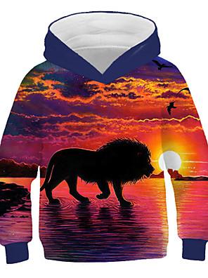 cheap Girls' Dresses-Kids Boys' Active Street chic Lion Print 3D Animal Print Long Sleeve Hoodie & Sweatshirt Orange