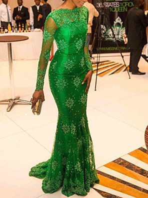 cheap Evening Dresses-Mermaid / Trumpet Elegant Formal Evening Dress Boat Neck Long Sleeve Sweep / Brush Train Lace with Appliques 2020