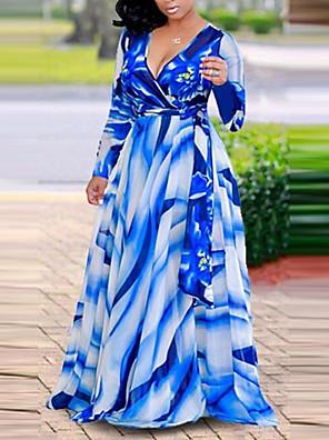 cheap Maxi Dresses-Women's Plus Size Maxi Shift Dress - Long Sleeve Floral Plaid Deep V Boho Street chic Blue Red L XL XXL XXXL XXXXL XXXXXL XXXXXXL 7XL