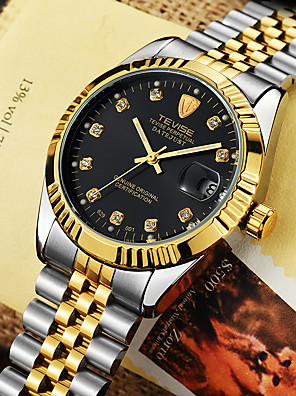 cheap Quartz Watches-Tevise Men's Dress Watch Mechanical Watch Automatic self-winding Formal Style Stylish Luxury Water Resistant / Waterproof Stainless Steel Silver / Gold Analog - Golden White / Gold Silver