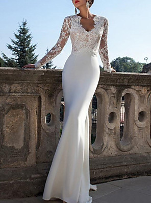 cheap Wedding Dresses-Mermaid / Trumpet Wedding Dresses V Neck Sweep / Brush Train Lace Jersey Long Sleeve Country Sexy Backless Illusion Sleeve with Lace Insert 2020