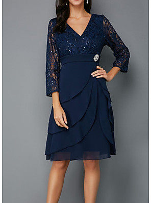 cheap Mother of the Bride Dresses-A-Line Mother of the Bride Dress Plus Size V Neck Knee Length Chiffon Lace 3/4 Length Sleeve with Sash / Ribbon Crystals Beading 2020