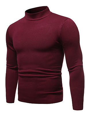 cheap Men's Sweaters & Cardigans-Men's Solid Colored Long Sleeve Pullover Sweater Jumper, Round Neck Fall / Winter Wine / White / Black US32 / UK32 / EU40 / US34 / UK34 / EU42 / US36 / UK36 / EU44