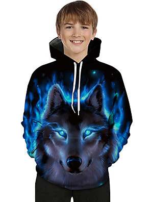 cheap Boys' Tops-Kids Toddler Boys' Active Basic Wolf Color Block 3D Animal Print Long Sleeve Hoodie & Sweatshirt Blue