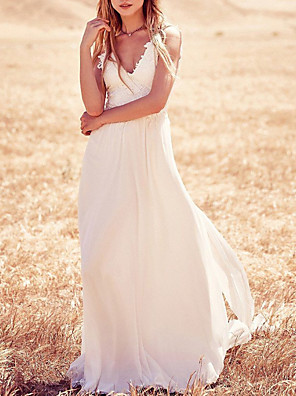cheap Wedding Dresses-A-Line Wedding Dresses Strapless V Neck Sweep / Brush Train Chiffon Lace Spaghetti Strap Country Boho Plus Size Backless with Appliques 2020