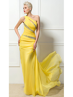 cheap Evening Dresses-Sheath / Column Sexy Yellow Engagement Formal Evening Dress One Shoulder Sleeveless Sweep / Brush Train 30D Chiffon with Ruched Crystals Sequin 2020