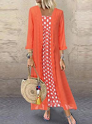 cheap Maxi Dresses-Women's Two Piece Dress Maxi long Dress - Long Sleeve Polka Dot Print Spring & Summer Casual Vacation Loose 2020 Black Blushing Pink Orange M L XL XXL XXXL XXXXL XXXXXL