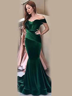 cheap Evening Dresses-Women's Maxi Trumpet / Mermaid Dress - Short Sleeve Solid Colored Off Shoulder Elegant Velvet Wine Blue Green Silver S M L XL
