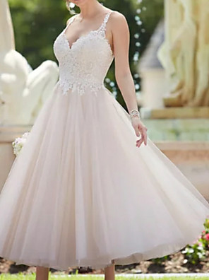 cheap Wedding Dresses-A-Line Wedding Dresses V Neck Ankle Length Lace Tulle Spaghetti Strap Vintage Backless with Appliques 2020