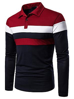 baratos Pólos Masculinas-Homens Polo Estampa Colorida Patchwork Blusas Básico Colarinho de Camisa Vermelho Azul Marinha Cinzento / Manga Longa