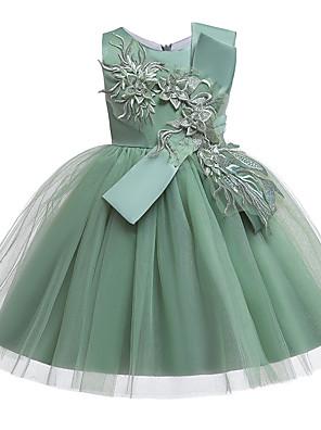 cheap Girls' Dresses-A-Line Knee Length Wedding / Birthday / Pageant Flower Girl Dresses - Cotton Blend Sleeveless Jewel Neck with Petal / Sash / Ribbon / Trim