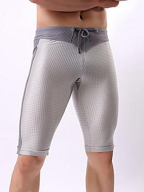 cheap Men's Exotic Underwear-Men's Basic Boxers Underwear - Normal 1 Piece Mid Waist Black White Gray S M L