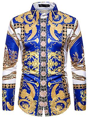 povoljno Muške košulje-Muškarci Dnevno Majica Grafika Dugih rukava Tops Plava