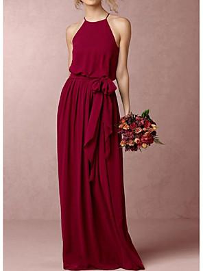 cheap Bridesmaid Dresses-A-Line Halter Neck Floor Length Chiffon Bridesmaid Dress with Bow(s)