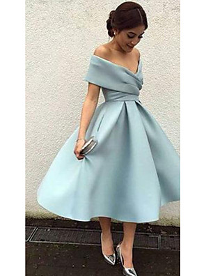 cheap Bridesmaid Dresses-A-Line Elegant Blue Cocktail Party Formal Evening Dress V Neck Short Sleeve Tea Length Matte Satin with Pleats 2020