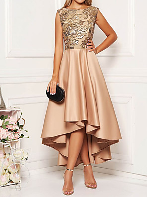 cheap Prom Dresses-Women's Asymmetrical A Line Dress - Sleeveless Floral Solid Color Print Spring Fall Elegant Cocktail Party Prom Birthday 2020 Khaki M L XL XXL XXXL XXXXL XXXXXL
