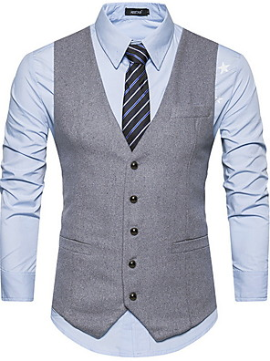 cheap Shirts-Polyester Wedding Vests Solid Colored