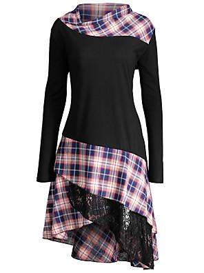 cheap Women's Dresses-Women's Asymmetrical Jalabiya Dress - Long Sleeve Plaid Lace Patchwork Stand Punk & Gothic Black Red Navy Blue Gray S M L XL XXL