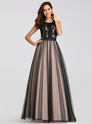 cheap Prom Dresses-A-Line Elegant Black Wedding Guest Prom Dress Jewel Neck Sleeveless Floor Length Lace Tulle Polyester with Lace Insert Appliques 2020