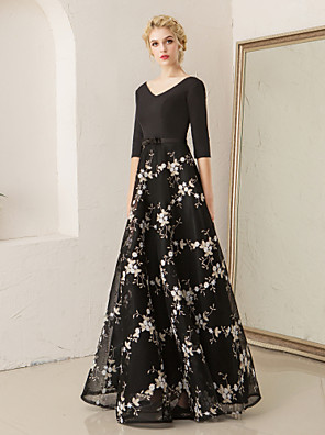 cheap Evening Dresses-A-Line Floral Black Wedding Guest Formal Evening Dress V Neck Half Sleeve Floor Length Lace Spandex with Embroidery Pattern / Print 2020