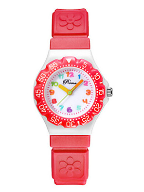 cheap Kids' Watches-Girls' Dress Watch Quartz Cartoon Water Resistant / Waterproof PU Leather Black / Blue / Red Analog - Digital - Purple Red Blue One Year Battery Life