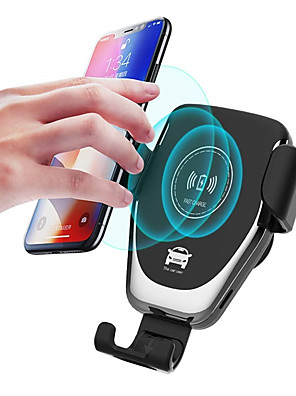 cheap Wireless Chargers-Car Wireless Charger Gravity Linkage Design Fast Charge Mobile Holder with Cable