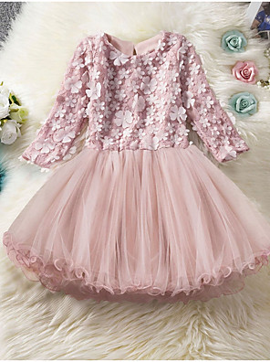 cheap Bridesmaid Dresses-Kids Girls' Solid Colored Knee-length Dress Blushing Pink