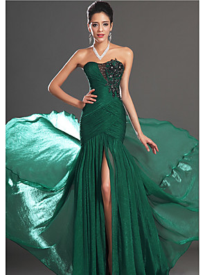 cheap Evening Dresses-Mermaid / Trumpet Sexy Green Engagement Formal Evening Dress Strapless Sleeveless Court Train Chiffon with Appliques 2020