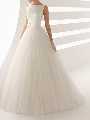 cheap Wedding Dresses-Ball Gown Wedding Dresses Bateau Neck Sweep / Brush Train Satin Tulle Regular Straps Simple Backless with Bow(s) 2020
