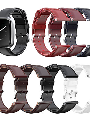 cheap Leather Watch Bands-Replacement Genuine Leather Watch Band Strap for Fitbit Versa Lite/Versa