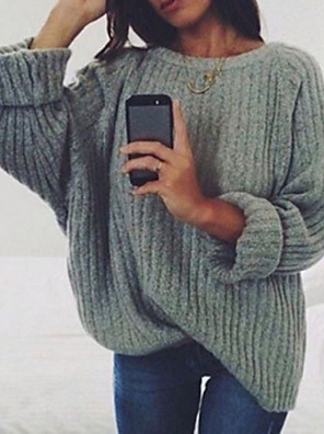 cheap Maxi Dresses-Women's Solid Colored Long Sleeve Pullover Sweater Jumper, Round Black / Wine / White S / M / L