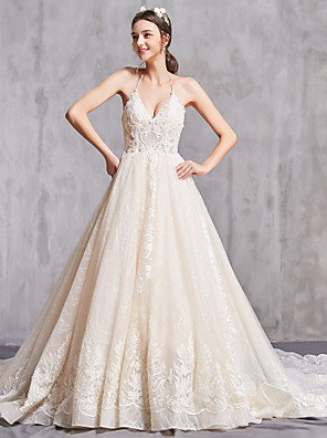 cheap Wedding Dresses-A-Line Wedding Dresses V Neck Chapel Train Lace Tulle Spaghetti Strap Sexy with Beading Appliques 2020