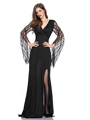 cheap Women's Dresses-Women's Maxi Sheath Dress - Long Sleeve Solid Colored Lace Deep V Halloween Black M L XL