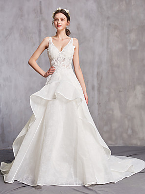 cheap Wedding Dresses-A-Line Wedding Dresses V Neck Chapel Train Tulle Spaghetti Strap Sexy with Beading Ruffles Appliques 2020