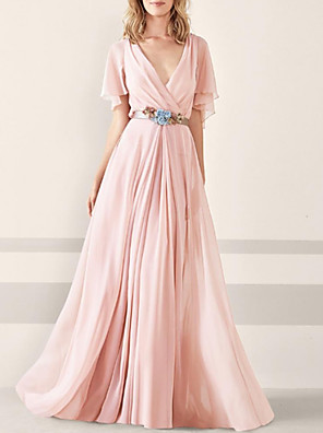 cheap Evening Dresses-A-Line Elegant Formal Evening Dress Plunging Neck Short Sleeve Sweep / Brush Train Chiffon with Sash / Ribbon Appliques 2020