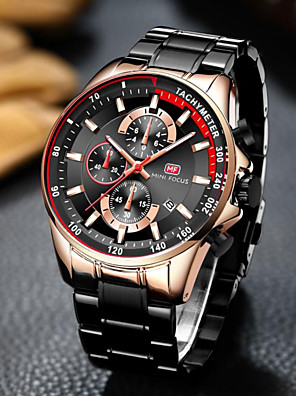 cheap Smart Watches-MINI FOCUS Men's Dress Watch Quartz Watches Quartz Classic Style Three-eye Six-needle Luxury Calendar / date / day Stainless Steel Black / Blue / Silver Analog - Black / Rose Gold Black Blue