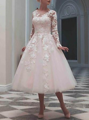 cheap Bridesmaid Dresses-Ball Gown Wedding Dresses Jewel Neck Tea Length Lace Tulle Long Sleeve Casual Vintage Little White Dress See-Through Cute with Beading Appliques 2020