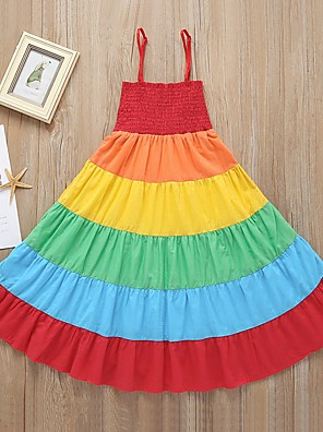 cheap Girls' Dresses-Kids Girls' Rainbow Dress Rainbow