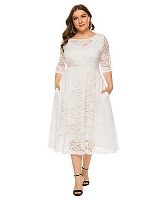 cheap Prom Dresses-Women's Plus Size A Line Dress - 3/4 Length Sleeve Solid Colored Lace White Black XL XXL XXXL XXXXL XXXXXL XXXXXXL