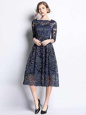 cheap Special Occasion Dresses-A-Line Elegant & Luxurious Holiday Cocktail Party Dress Square Neck 3/4 Length Sleeve Tea Length Lace with Lace 2020