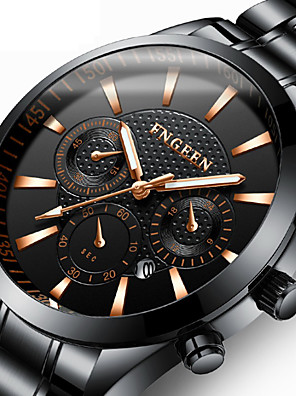 cheap Dress Classic Watches-Men's Dress Watch Quartz Formal Style Modern Style Luxury Calendar / date / day Stainless Steel Black Analog - Black / White Black One Year Battery Life / Noctilucent
