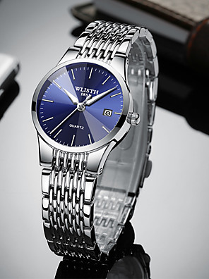 abordables Relojes de cuarzo-Mujer Relojes Quartz Cuarzo Estilo formal Elegante Lujo Calendario Analógico Negro Azul Piscina Plata / Un año / Acero Inoxidable / Noctilucente / Un año