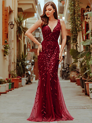cheap Bridesmaid Dresses-Mermaid / Trumpet Sparkle Red Wedding Guest Formal Evening Dress V Neck Sleeveless Floor Length Tulle Sequined with Sequin Appliques 2020