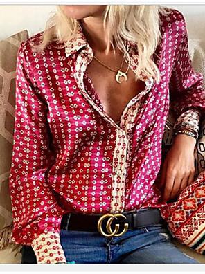 cheap Women's Dresses-Women's Geometric Shirt Daily Shirt Collar Purple / Beige
