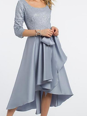 cheap Prom Dresses-A-Line Mother of the Bride Dress Elegant & Luxurious Scoop Neck Jewel Neck Tea Length Lace Satin Half Sleeve with Sash / Ribbon Pleats Ruching 2020