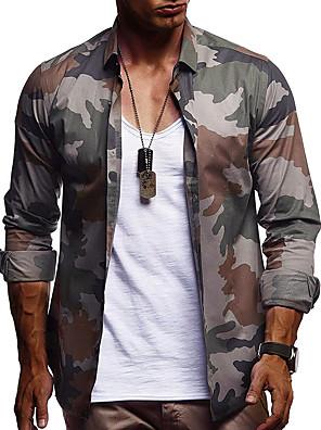 cheap Quartz Watches-Men's Shirt Camo / Camouflage Long Sleeve Tops Basic Elegant Button Down Collar Blue Purple Army Green / Work