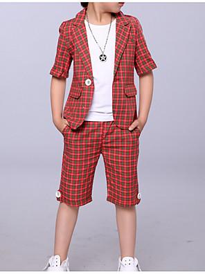 povoljno Kompletići za dječake-Djeca Dječaci Osnovni Karirani uzorak Kratkih rukava Odijelo i sako Red